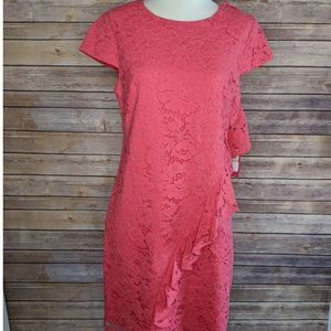 NWT Vince Camuto 4 Lace Ruffle Shift Mini Dress